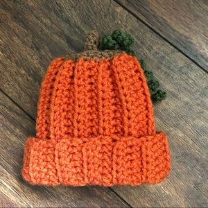 0-3 months handmade crochet pumpkin beanie